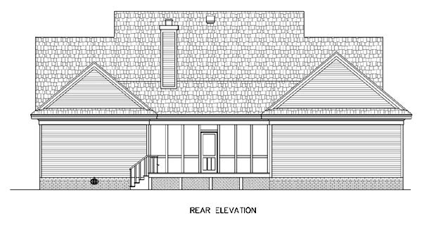 Country Southern House Plan 65646 Rear Elevation
