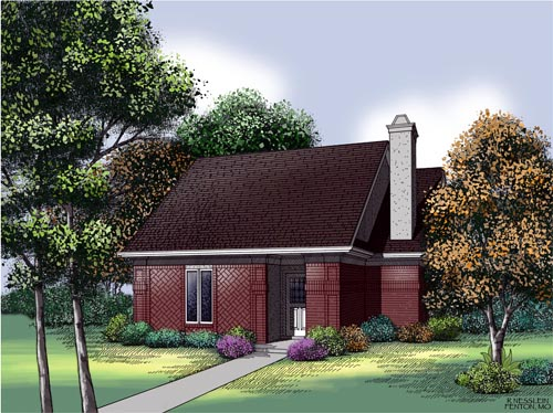 Narrow Lot, One-Story, Traditional House Plan 65688 with 2 Beds, 2 Baths, 2 Car Garage Elevation