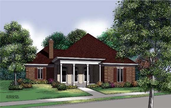Colonial, Country, One-Story House Plan 65698 with 3 Beds, 2 Baths Elevation