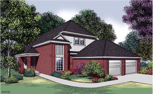 Narrow Lot, Traditional House Plan 65701 with 3 Beds, 3 Baths, 2 Car Garage Elevation