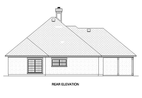 European House Plan 65760 Rear Elevation
