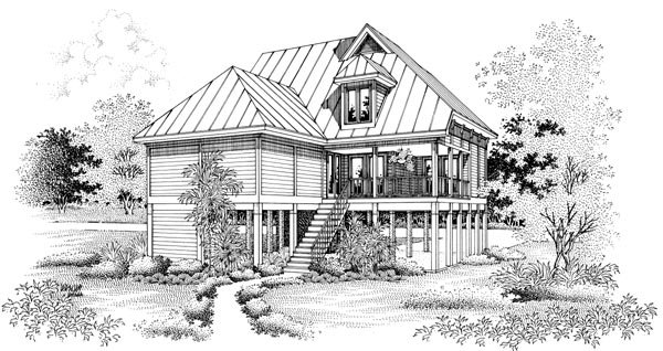 Coastal, Narrow Lot House Plan 65776 with 4 Beds, 3 Baths, 2 Car Garage Rear Elevation