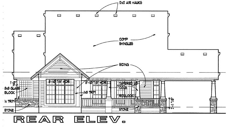 Bungalow House Plan 65800 Rear Elevation