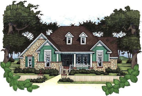Cottage, Craftsman House Plan 65802 with 3 Beds, 2 Baths, 2 Car Garage Elevation