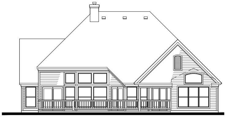 Cottage, Craftsman House Plan 65802 with 3 Beds, 2 Baths, 2 Car Garage Rear Elevation