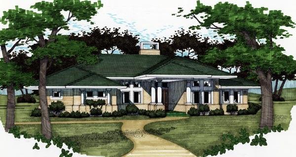 Florida Prairie Style Southwest House Plan 65810 Elevation
