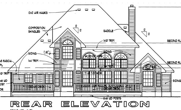 Traditional House Plan 65829 Rear Elevation