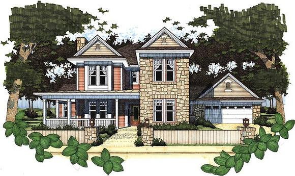 Country House Plan 65838 with 4 Beds, 3.5 Baths, 2 Car Garage Elevation