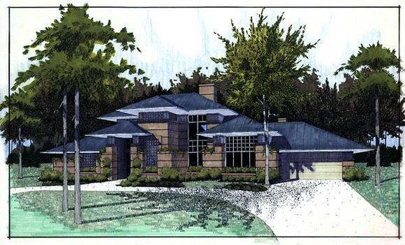 Contemporary, Prairie, Southwest House Plan 65844 with 3 Beds, 2.5 Baths, 2 Car Garage Elevation