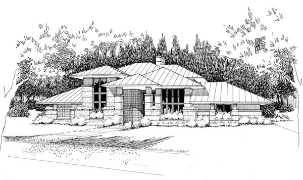 Contemporary Prairie Style Southwest House Plan 65852 Elevation