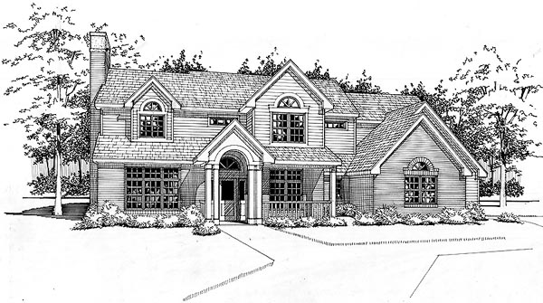 Colonial House Plan 65856 with 4 Beds, 2.5 Baths, 2 Car Garage Elevation