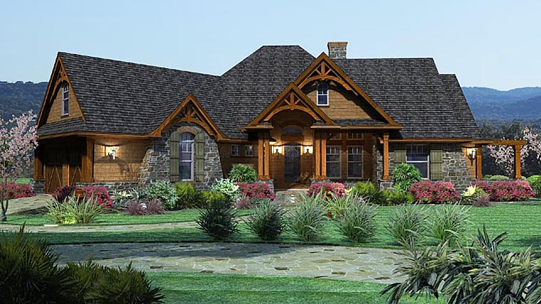 Elevation of Craftsman   Tuscan   House Plan 65862