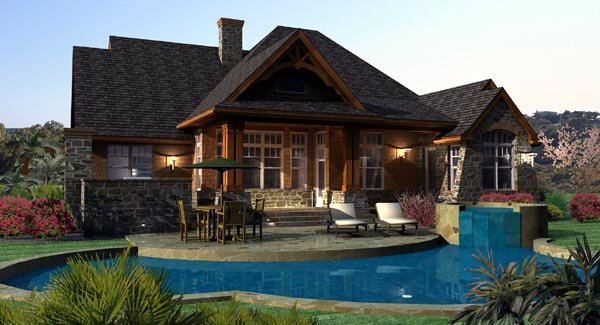 Cottage Craftsman Tuscan House Plan 65862 Rear Elevation