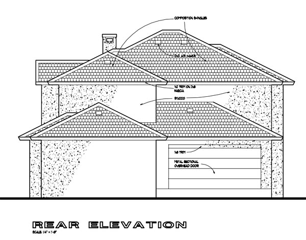 Southwest Multi-Family Plan 65865 Rear Elevation