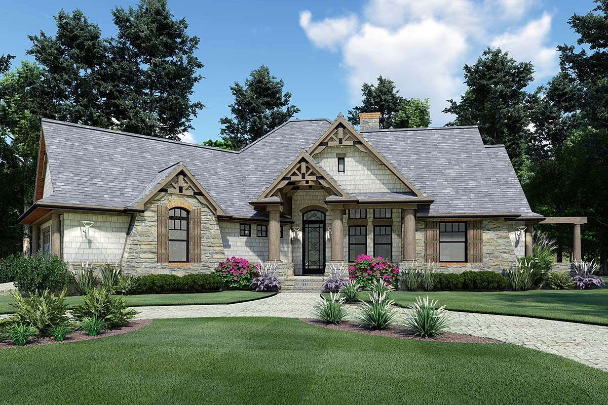 cottage craftsman ranch tuscan house plan 65867 elevation - Ranch Home Plans