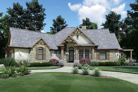 Cottage, Craftsman, Tuscan House Plan 65867 with 3 Beds, 2 Baths, 2 Car Garage Elevation