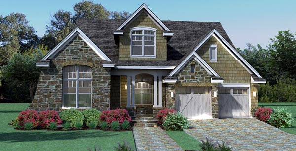 Elevation of Cottage   Craftsman   Southern   Traditional   Tuscan   House Plan 65868