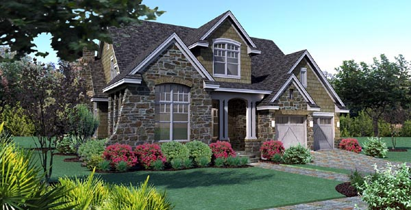 Cottage, Craftsman, Southern, Traditional, Tuscan House Plan 65868 with 3 Beds, 3 Baths, 2 Car Garage Picture 3