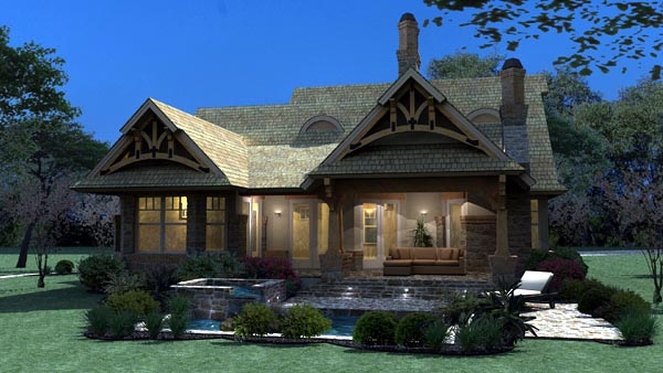 Bungalow Cottage Craftsman Tuscan House Plan 65870 Rear Elevation