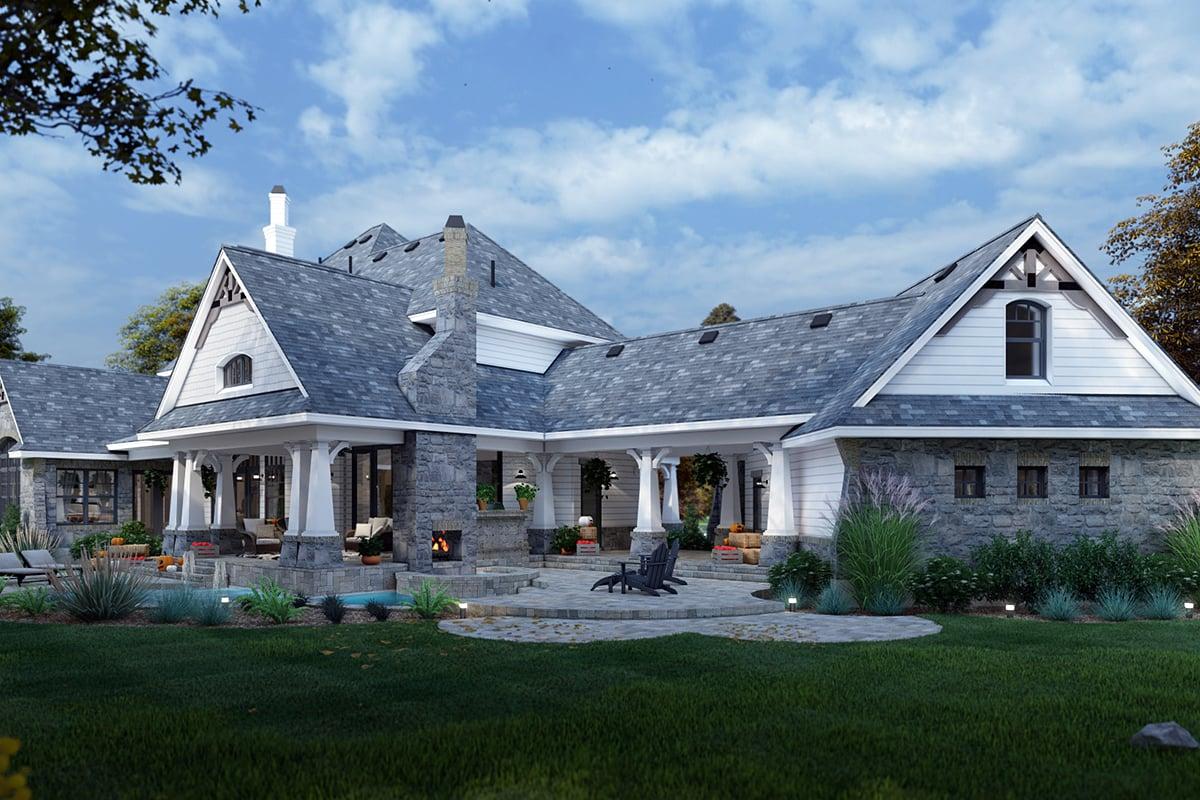 Cottage Craftsman European Tuscan House Plan 65872 Rear Elevation