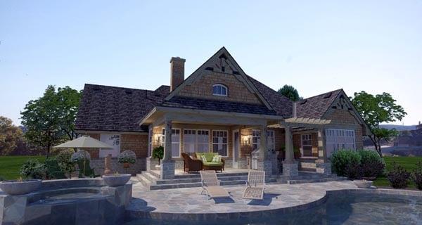 Cottage Craftsman Ranch Tuscan House Plan 65873 Rear Elevation