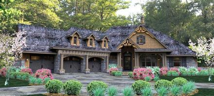 Cottage, Country, Craftsman, Traditional, Tuscan House Plan 65877 with 3 Beds, 3 Baths, 3 Car Garage
