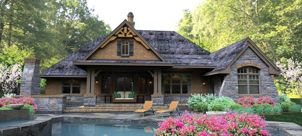 Cottage Country Craftsman Traditional Tuscan House Plan 65877 Rear Elevation