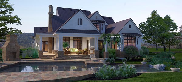 Country Farmhouse Traditional House Plan 65879 Rear Elevation