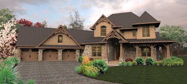 Craftsman Tuscan House Plan 65880