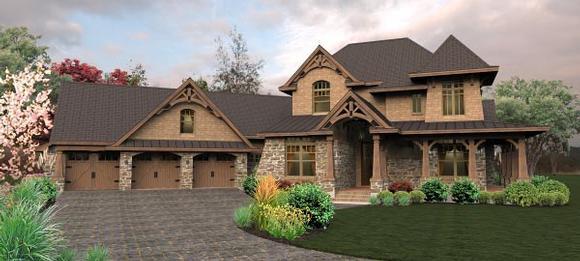 Craftsman, Tuscan House Plan 65880 with 4 Beds, 4 Baths, 3 Car Garage Elevation