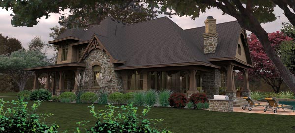 Craftsman, Tuscan House Plan 65880 with 4 Beds, 4 Baths, 3 Car Garage Picture 3