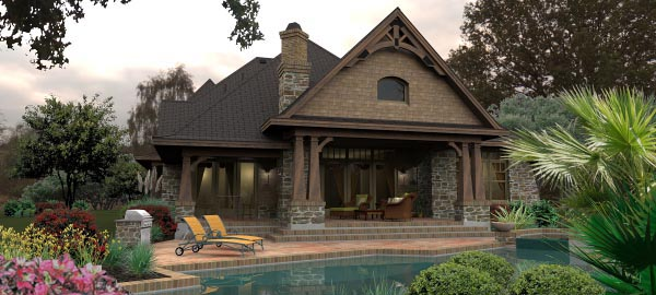 Craftsman, Tuscan House Plan 65880 with 4 Beds, 4 Baths, 3 Car Garage Picture 4