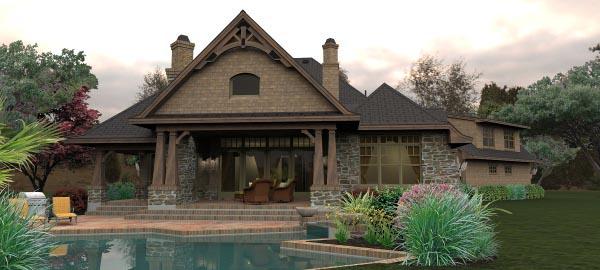 Craftsman Tuscan House Plan 65880 Rear Elevation