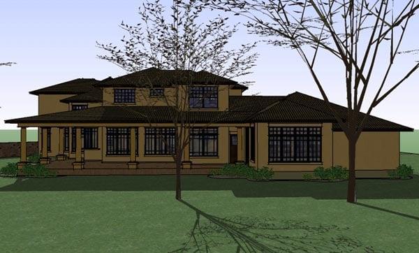 Italian, Mediterranean, Traditional House Plan 65882 with 5 Beds, 6 Baths, 3 Car Garage Rear Elevation