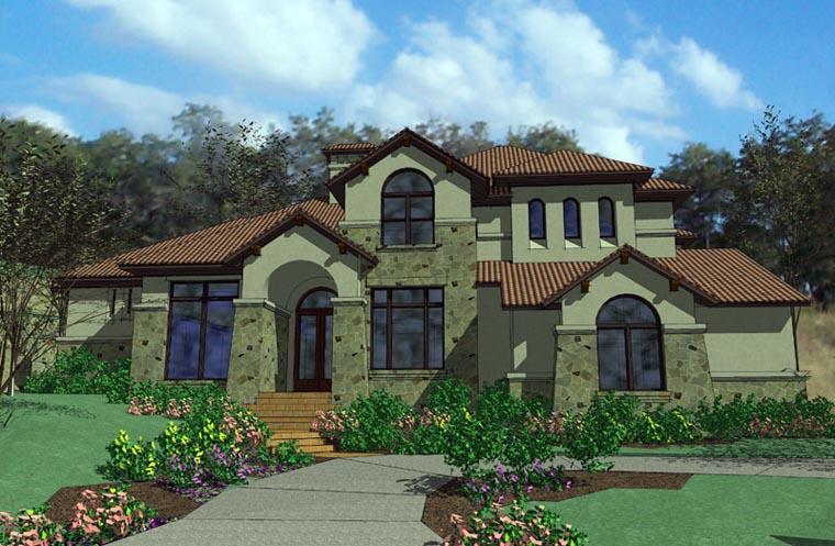 Mediterranean, Tuscan House Plan 65884 with 5 Beds, 7 Baths, 3 Car Garage Elevation
