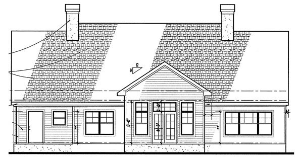Colonial Traditional House Plan 65894 Rear Elevation