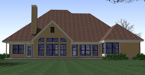 Coastal Colonial Traditional House Plan 65896 Rear Elevation