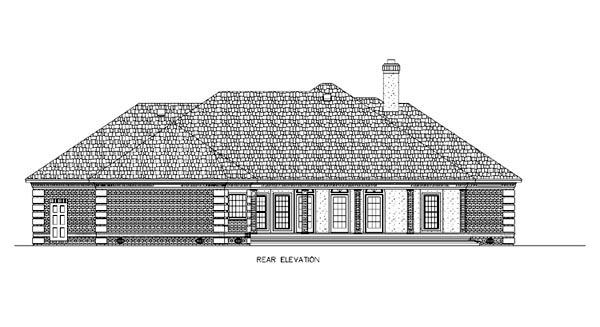 European House Plan 65902 Rear Elevation