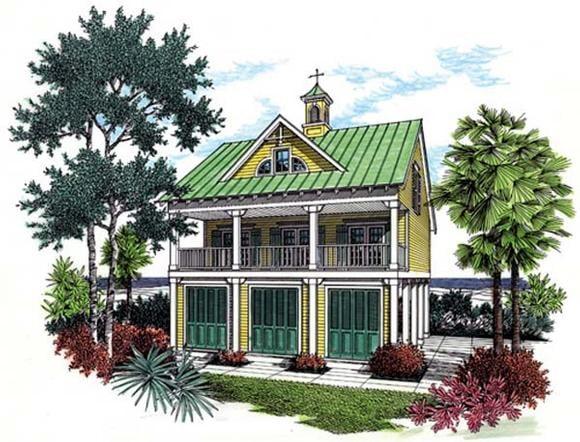 Coastal House Plan 65957 with 3 Beds, 3 Baths, 1 Car Garage Elevation
