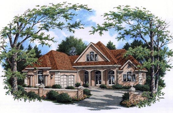 European, Mediterranean House Plan 65964 with 3 Beds, 3 Baths, 2 Car Garage Elevation
