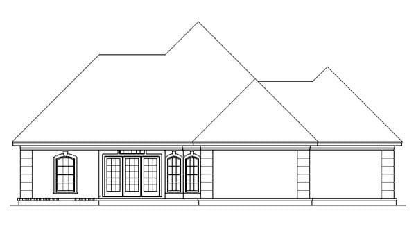 European, Mediterranean House Plan 65964 with 3 Beds, 3 Baths, 2 Car Garage Rear Elevation