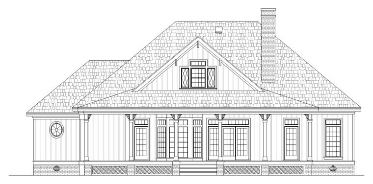 Cottage, Southern House Plan 65988 with 3 Beds, 3 Baths Rear Elevation