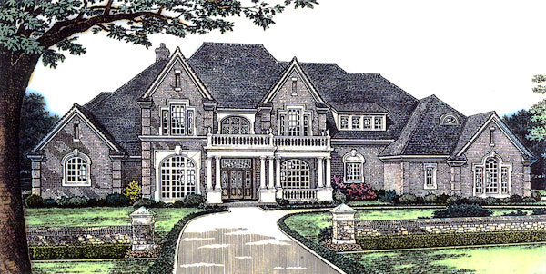 Elevation of European   French Country   Tudor   Victorian   House Plan 66026