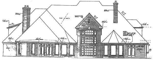 Rear Elevation of European   French Country   Tudor   Victorian   House Plan 66026