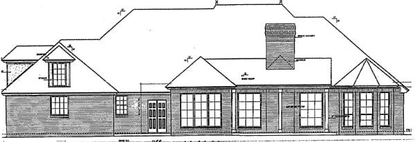 European Traditional House Plan 66031 Rear Elevation
