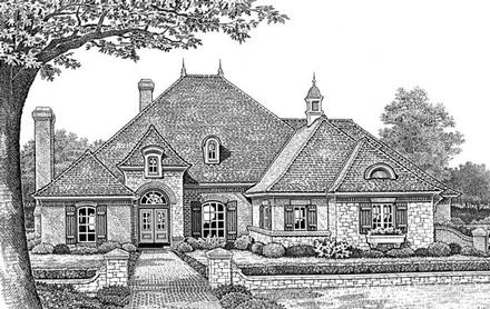 European One-Story Traditional Elevation of Plan 66052