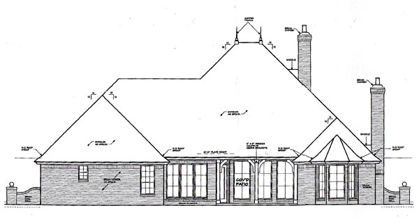 European One-Story Traditional Rear Elevation of Plan 66052
