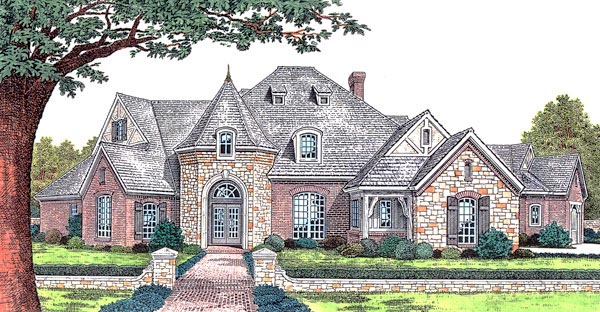 House plan 66067 at for French country tudor house plans