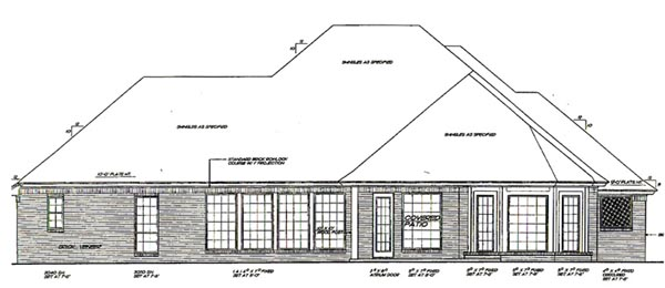European Tudor House Plan 66092 Rear Elevation