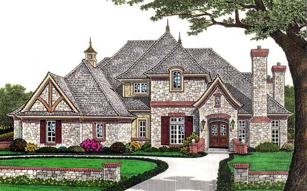 european french country house plan 66110 elevation - European House Plans